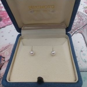 Mikimoto Jewelry - Mikimoto Akoya AA Pearl Earrings 18k, White, Pink